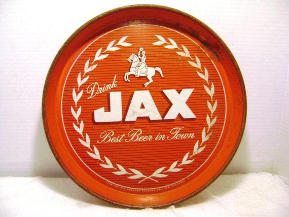 Vintage Jax Beer Tray Bar Ware Decor Man Cave Round