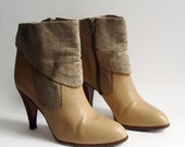 RESERVED 1970s heels / tan high heel boots / leather suede boots / 70s 1970s sexy boots / boots 9 / shoes 9 / vintage boots