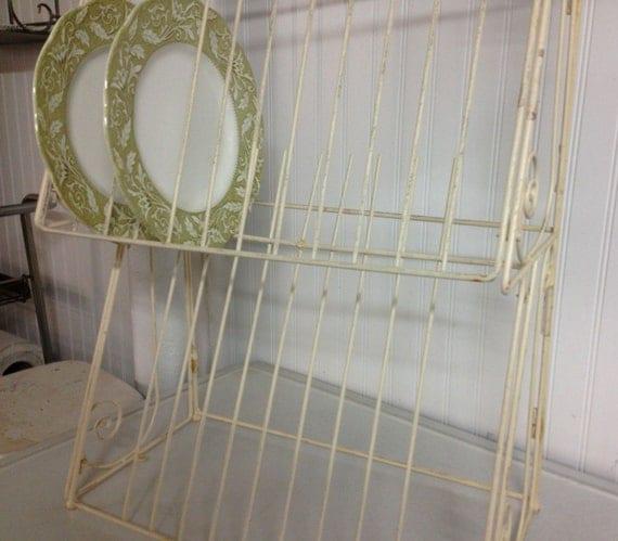 vintage french metal in ivory wall mount plate rack. Black Bedroom Furniture Sets. Home Design Ideas