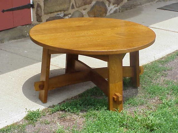36 diameter mission style round coffee table With round mission style coffee table