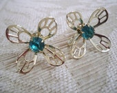 Vintage Jewelry Earrings Silver Screw Back Earrings Aqua Stones Floral Design