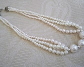 Vintage Jewelry Necklace Pearl Multi-Strand  Necklace Choker