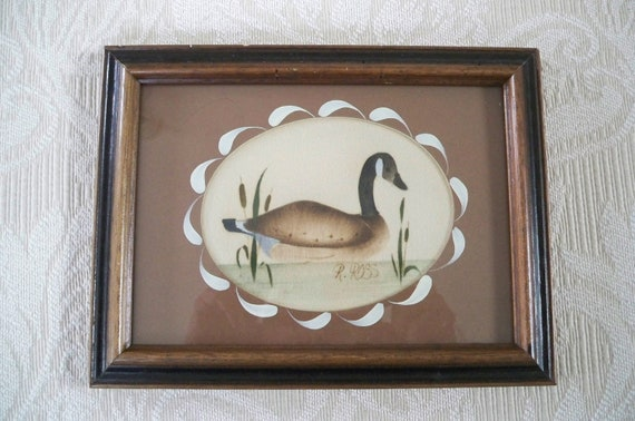 Vintage home decor wall hanging duck theorem painting signed for Duck decorations home