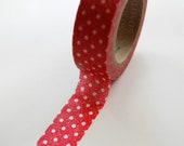 Washi Tape - 15mm - White Dots on Worn Red - Deco Paper Tape No. 407