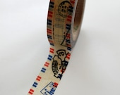 Washi Tape - 15mm - Airmail Canceled Mail - Deco Paper Tape No. 388