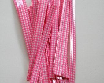 Pink Gingham Twist Ties - set of 25