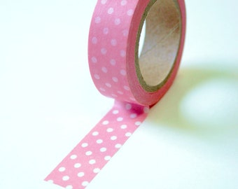 Washi Tape - 15mm - White Polka Dot on Cotton Candy Pink - Deco Paper Tape No. 164