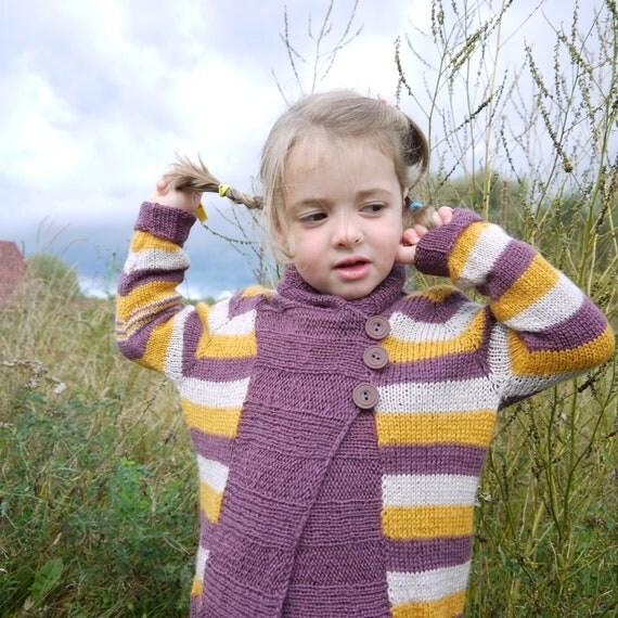 SALE - Girls Knitted Sweater - Shawl Collar Stripey Cardigan - seamless design - size 4-6 years - OOAK