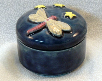 Ceramic Keepsake Box - Starry Night Dragonfly