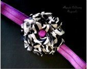 Purple & Zebra Chiffon Flower Headband