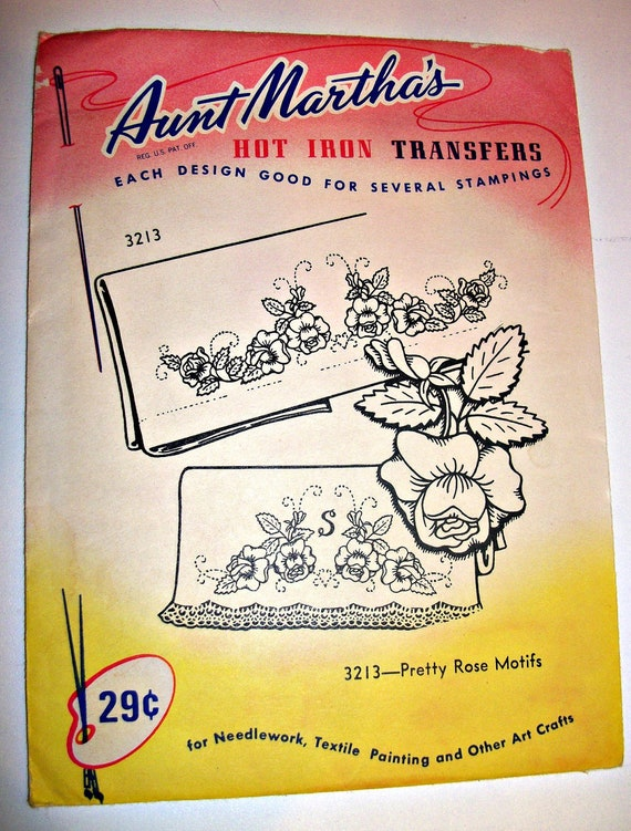 "Aunt Martha's Hot Iron Transfer named ""Pretty Rose Motifs"""