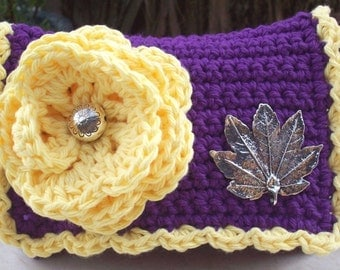 HALF PRICE CLEARANCE  ~  Crocheted Purse  ~  Grape and Yellow with Silver Leaf Crocheted Cotton Little Bit Purse
