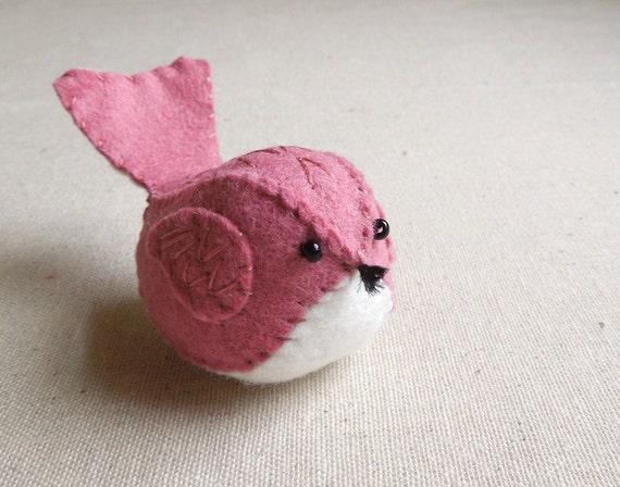 Raspberry Sherbet Pink Embroidered Wool Felt Bird