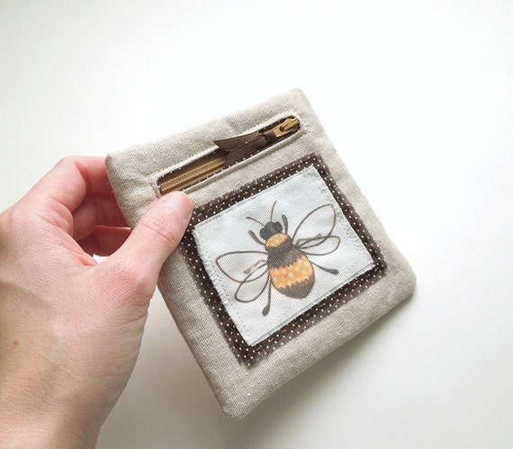 Brown and Yellow Honey Bee Zipper Pouch Coin Purse