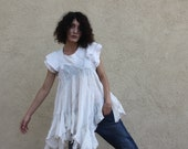 PRICES SLASHED! Movie Boy gauze linen multi seamed voluminous white tunic OOAK