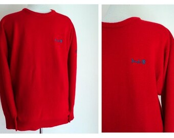 Vintage Mens Sweater // Red PRINGLE Crew Neck Wool Logo Sweater // Pringle of Scotland //  Mens Size Small
