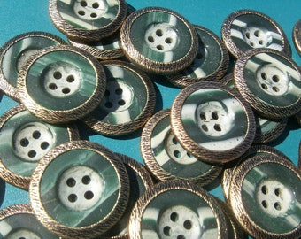 GREEN & WHITE BUTTONS with Gold Rim 50 buttons about one inch diameter Tiger Button Co Inc