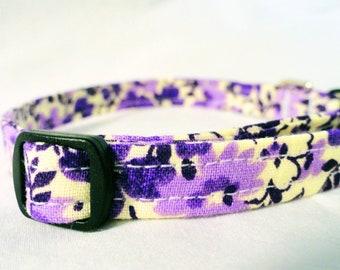 Pretty Purple Flowers Fabric Cat Kitten Collar Bell