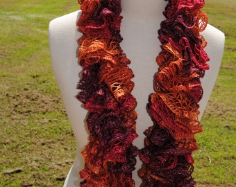 Autumn Look Ruffle Scarf, Orange and Red Multicolored Ruffle Scarf, Red Ruffle Scarf, Fall Ruffle Scarf