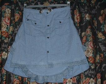 Steampunk Blue Cool Cotton Bustle Skirt