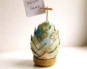Upcycled Paper Decoration Map - Pinecone, Egg - place setting, photo holder