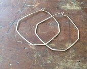 one at a time // 14k yellow gold filled / geometric hammered hoops