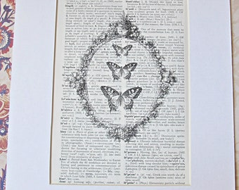 Dictionary Art Print. Lepidotera. Butterfly Butterflies. Vintage Dictionary Page. Art Two Cheeky Monkeys dspdavey typography