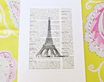 Eiffel Tower Greeting Card. Vintage Dictionary Page. Birthday Celebration Travel Bon Voyage Two Cheeky Monkeys Typography French France