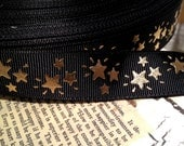 "7/8"" Gold Metallic FOIL Stars on Black Grosgrain Ribbon sold by the yard"