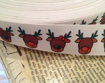 "3 yards 7/8"" CHRISTMAS REINDEER Grosgrain Ribbon"