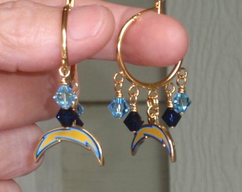 San Diego Chargers Earrings, SD Chargers Bling,  Bolts From the Blue Pro Football Earrings, Chargers Football Accessory Fanwear