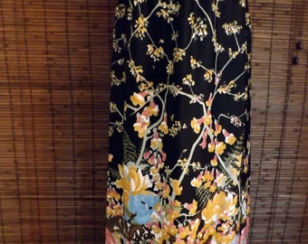 Vintage 70s Floral and Branches Border Print Boho Maxi Skirt M-L Free shipping