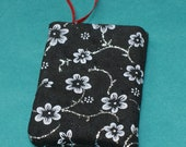 Black with silver glitter flowers Gift Card Holder Ornament (GCO7)