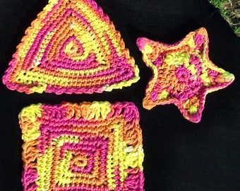 THREE UNIQUE COASTERS, Crocheted, geometric shapes for candles, beverages, bar, table protector, candy jar, figurine, RedRobinArt, Grigsby G