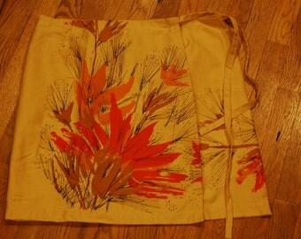 vintage tablecloth wrap skirt orange/browns