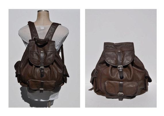 leather backpack HUGE vintage brown LEATHER BACKPACK tote rucksack back pack ruck sack