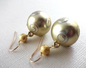 Gold Christmas Ornament with Gold Bead Earrings