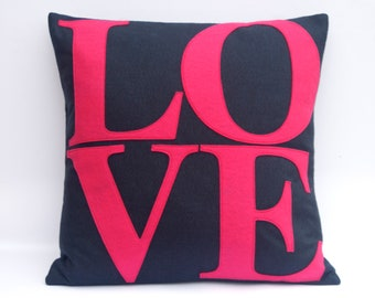 LOVE Throw Pillow Cover Appliquéd in Pink on Navy Blue  Eco-Felt 18 inches