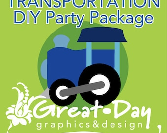 Transportation DIY Party Package Invite Thank You Banner Cupcake Toppers Favor Toppers NEW FREEBIES