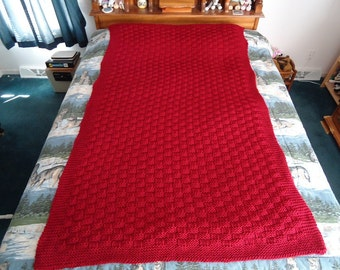 Claret Hand Knitted Basketweave Afghan, Blanket, Throw - Home Decor