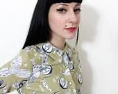 Vintage shirt / 40s 50s astronomy print blouse / size S