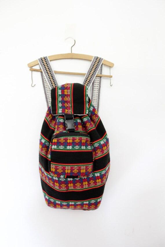 Vintage backpack / colorful folk rucksack
