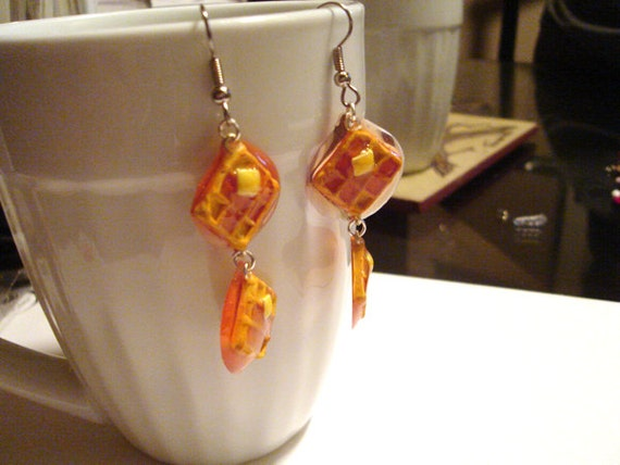 Waffle Earrings with Butter and Maple Syrup