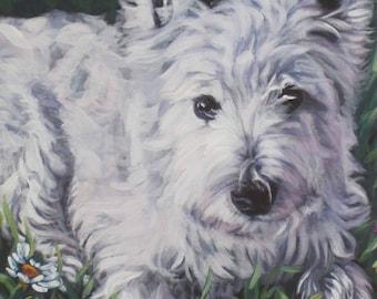 West Highland Terrier westie CANVAS print of LA Shepard painting 8x10 dog art