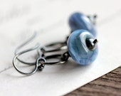 Blue Gray Glass Earrings, Artisan Lampwork Glass Beads with Sterling Silver Hoops - Summer Storm