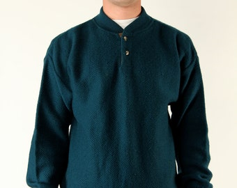 Vintage Pendleton Sweater L Wool Knit Leather Elbow Patches Dark Teal