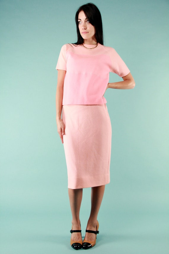 Vintage 1950s Med Mad Men Ombre Pastel Pink Virgin Wool Knit Dress Set by Cadillac