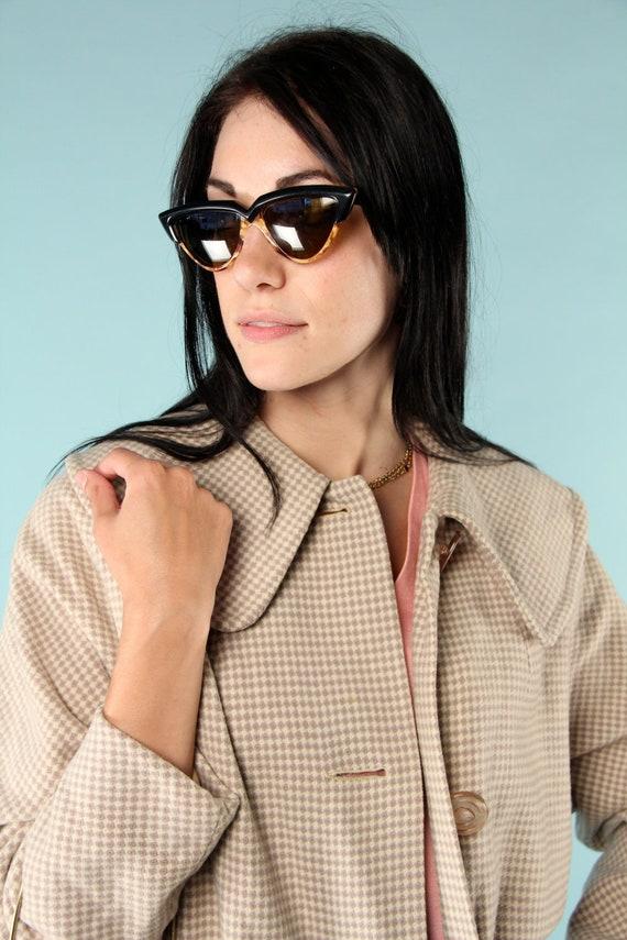 Vintage Wool Coat Cream Mod Houndstooth M 50s 60s
