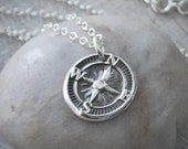 Sterling Silver Compass Necklace - Compass Rose Necklace - Gift for Women - Sterling Silver Chain - Compass Pendant