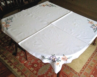Embroidered tablecloth hand embroidery French Knots flowers Colorful